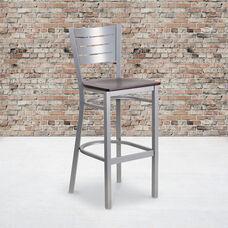 Silver Slat Back Metal Restaurant Barstool with Mahogany Wood Seat