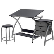 Comet Craft and Storage Center with Stool - Silver and Black