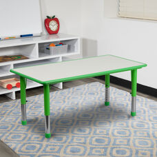 23.625''W x 47.25''L Rectangular Green Plastic Height Adjustable Activity Table with Grey Top