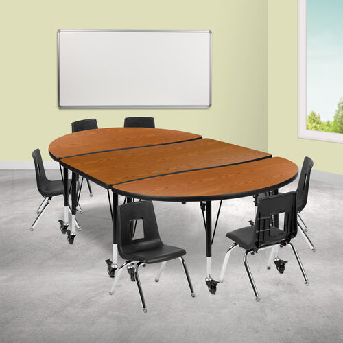 "Our Mobile 76"" Oval Wave Collaborative Laminate Activity Table Set with 14"" Student Stack Chairs, Oak/Black is on sale now."