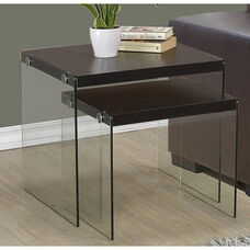 Modern 2 Piece Nesting Table Set with Tempered Glass Base - Cappuccino