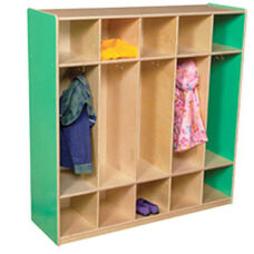 Green Apple 5-Section Locker with Two Coat Hooks in Each Section - Assembled - 48