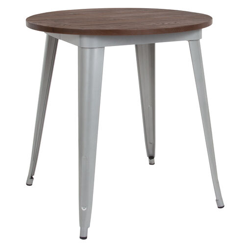 """Our 26"""" Round Silver Metal Indoor Table with Walnut Rustic Wood Top is on sale now."""