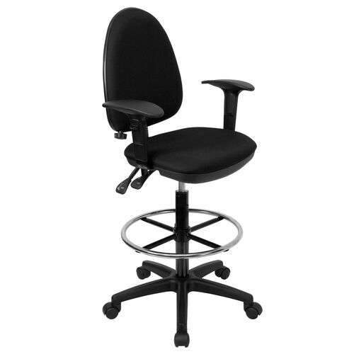 Mid-Back Multi-Functional Ergonomic Drafting Chair with Adjustable Lumbar Support and Height Adjustable Arms