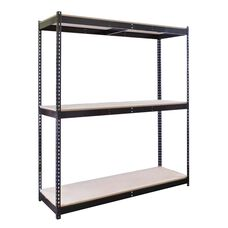 Rivetwell 3 Level Center Support Double Rivet Boltless Shelving Starter Unit with Particle Board - Unassembled - Black - 48