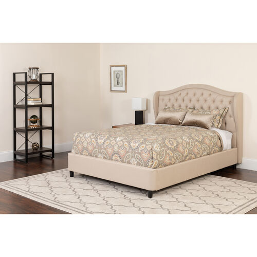 Our Valencia Tufted Upholstered Full Size Platform Bed in Beige Fabric with Memory Foam Mattress is on sale now.