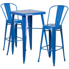 "Commercial Grade 23.75"" Square Blue Metal Indoor-Outdoor Bar Table Set with 2 Stools with Backs"