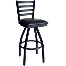 Lima Metal Ladder Back Swivel Barstool - Black Vinyl Seat