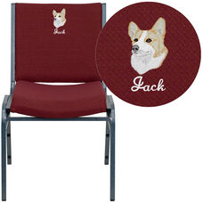 Embroidered HERCULES Series Heavy Duty Burgundy Patterned Fabric Stack Chair