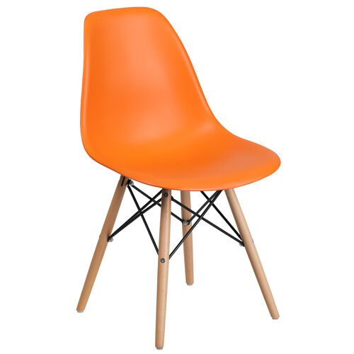 Our Elon Series Orange Plastic Chair with Wooden Legs is on sale now.