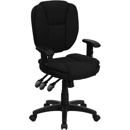 Our Mid-Back Black Fabric Multifunction Swivel Ergonomic Task Office Chair with Pillow Top Cushioning and Arms is on sale now.