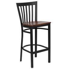 Black School House Back Metal Restaurant Barstool with Cherry Wood Seat