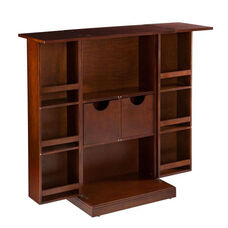 Stylish Space Saving Wood Fold Away Bar with Door Shelves and Specialty Glass Storage - Walnut