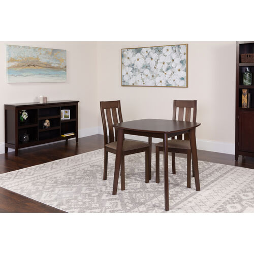Our Waterbury 3 Piece Espresso Wood Dining Table Set with Vertical Slat Back Wood Dining Chairs - Padded Seats is on sale now.