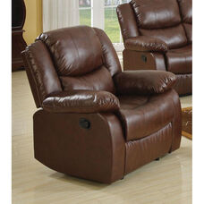 Fullerton Transitional Style Bonded Leather Recliner with Hand Latch - Brown