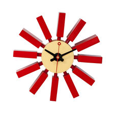 Postmodern Wall Clock with Painted Red Wood Spokes