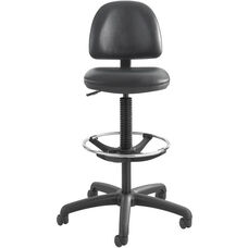 Precision 23'' H Extended Height Drafting Stool with Adjustable Foot Ring - Black Vinyl