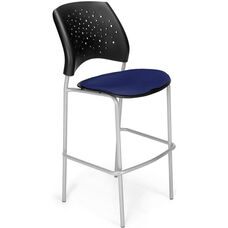 Stars Cafe Height Chair with Fabric Seat and Silver Frame - Navy