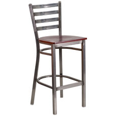Clear Coated Ladder Back Metal Restaurant Barstool with Mahogany Wood Seat