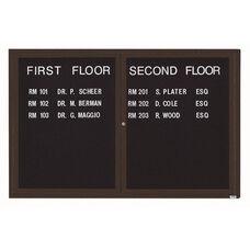 2 Door Indoor Enclosed Directory Board with Bronze Anodized Aluminum Frame - 48
