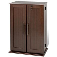 Locking Media Storage Cabinet with Shaker Doors and 12 Adjustable Shelves - Espresso