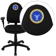 Embroidered Mid-Back Black Fabric Multifunction Swivel Ergonomic Task Office Chair with Adjustable Lumbar & Arms