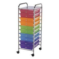 10 Drawer Chrome Frame Storage Cart - Multicolor