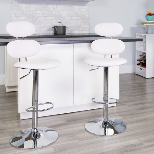 Our Contemporary White Vinyl Adjustable Height Barstool with Ellipse Back and Chrome Base is on sale now.