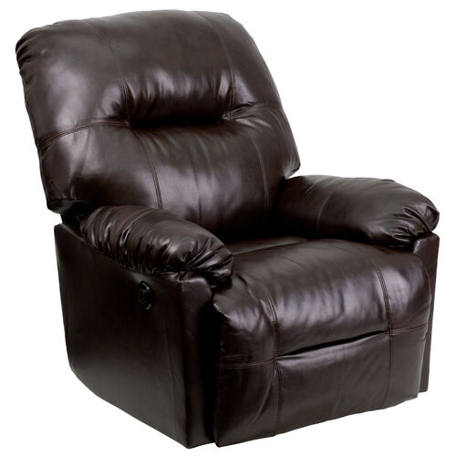 Our Contemporary Bentley Brown LeatherSoft Chaise Power Recliner with Push Button is on sale now.
