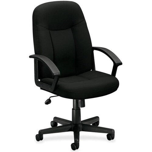 Our Basyx Mid-Back Managerial Chair with Fixed Loop Arms - Black Fabric is on sale now.