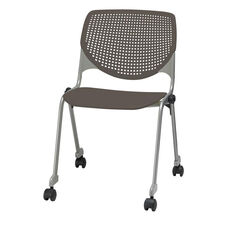 2300 KOOL Series Stacking Poly Silver Steel Frame Armless Chair with Perforated Back and Casters - Brownstone