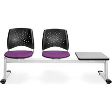 Stars 3-Beam Seating with 2 Plum Fabric Seats and 1 Table - Gray Nebula Finish