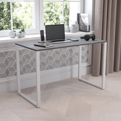 """Tiverton Industrial Modern Desk - Commercial Grade Office Computer Desk and Home Office Desk - 47"""" Long (Rustic Gray/White)"""