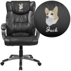 Embroidered High Back Black Leather Executive Swivel Chair with Titanium Nylon Base and Loop Arms