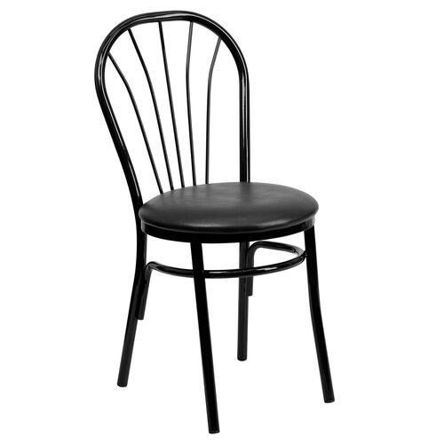Our Metal Fan Back Bistro Chair with Black Vinyl Seat is on sale now.