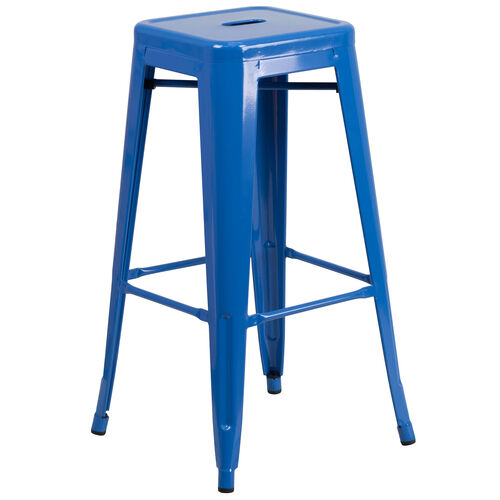 """Our Commercial Grade 30"""" High Backless Blue Metal Indoor-Outdoor Barstool with Square Seat is on sale now."""