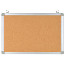 """HERCULES Series 17.75""""W x 11.75""""H Personal Sized Natural Cork Board with Aluminum Frame"""