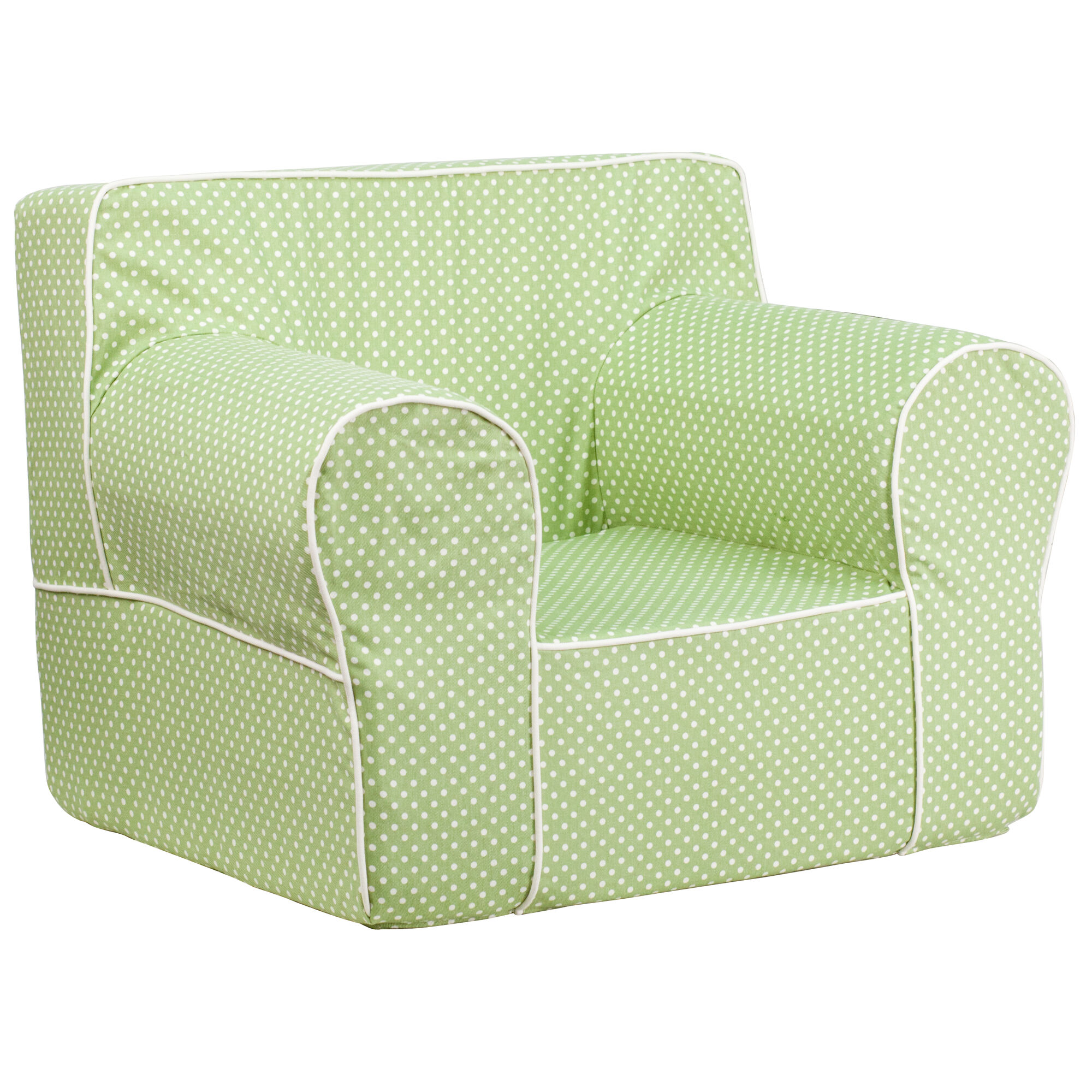 Flash furniture oversized green dot kids chair with white for White kids chair