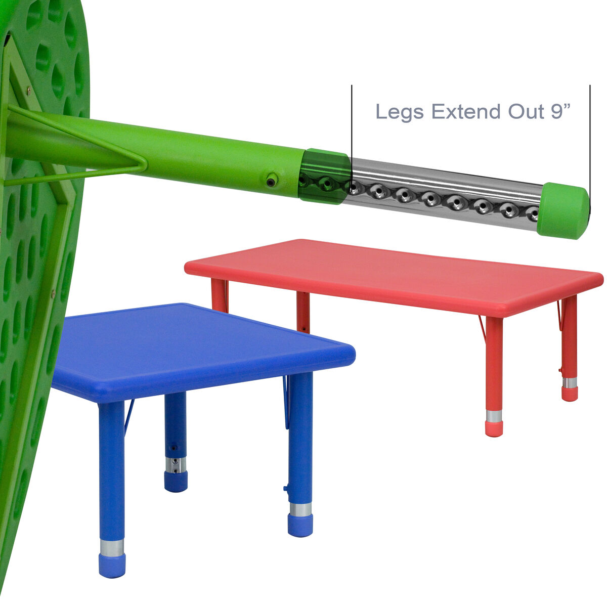 33 Round Blue Plastic Height Adjustable Activity Table
