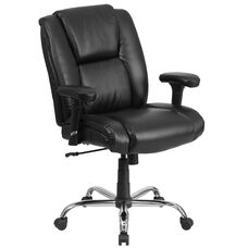 HERCULES Series Big & Tall 400 lb. Rated Black Leather Ergonomic Task Office Chair with Chrome Base and Adjustable Arms