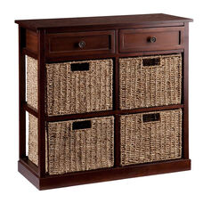 Kenton 29''W x 27.75''H Storage Tower with 2 Drawers and 4 Seagrass Basket