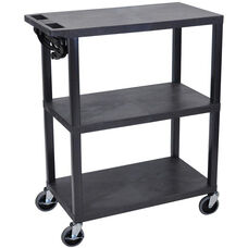 Molded Thermoplastic Resin 3 Shelf Presentation Cart - Black - 32