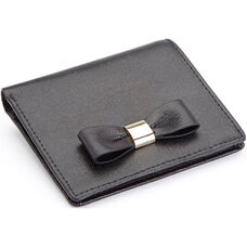 RFID Blocking Mini Sarah Bow Wallet - Saffiano Genuine Leather - Black
