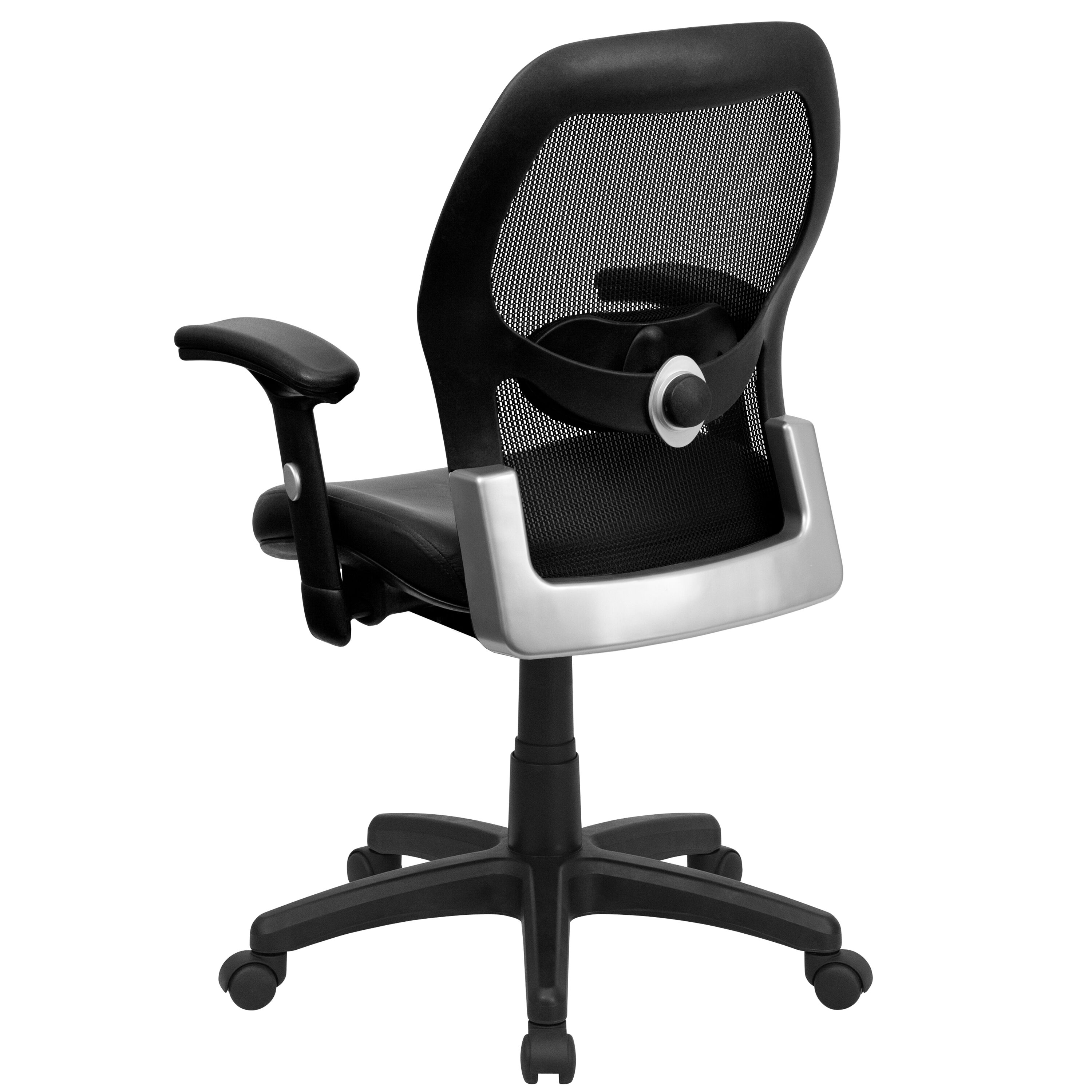 Images. Mid Back Black Super Mesh Executive Swivel Chair With Leather Seat  ...