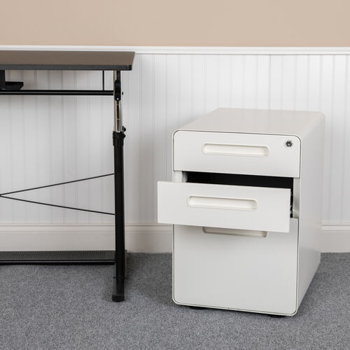 Ergonomic 3-Drawer Mobile Locking Filing Cabinet with Anti-Tilt Mechanism and Hanging Drawer for Legal & Letter Files, White