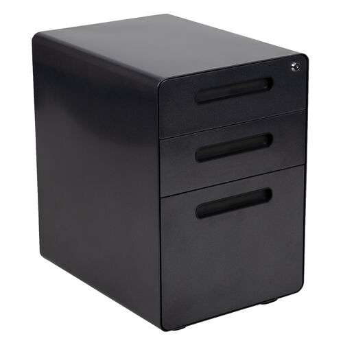 Our Ergonomic 3-Drawer Mobile Locking Filing Cabinet with Anti-Tilt Mechanism and Hanging Drawer for Legal & Letter Files, Black is on sale now.