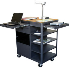 Vizion Presenter Multimedia Cart with Acrylic Doors and Four Side Shelves - Oak Laminate