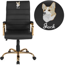 Embroidered High Back Black Leather Executive Swivel Office Chair with Gold Frame and Arms