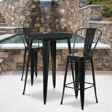 "Commercial Grade 30"" Round Black Metal Indoor-Outdoor Bar Table Set with 2 Cafe Stools"