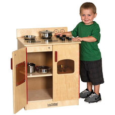 Birch Play Kitchen Stove with Interior Shelves and Acrylic See-Through Window